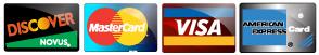 Discover, MasterCard, Visa and American Express